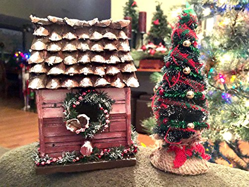 wood-birdhouse-and-tree-christmas-1900-gift-christmas-wreath-garland-red-painted-wood-siding-michell