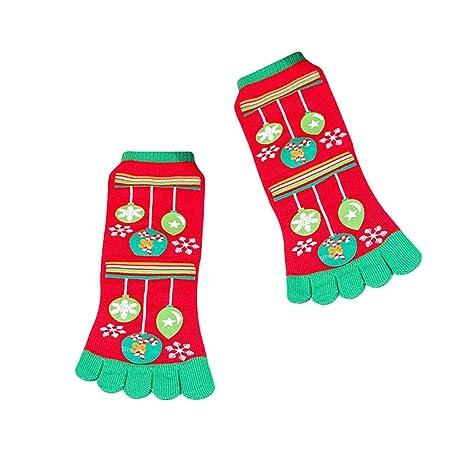 Coomir Navidad Dibujos Animados Santa muñeco de Nieve impresión Calcetines del Dedo del pie Cinco Dedos