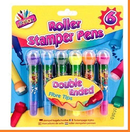 6PC KIDS CREATIVE ART BOX CRAFT DOUBLE ENDED ROLLER STAMPER MARKER PEN SET STAMP