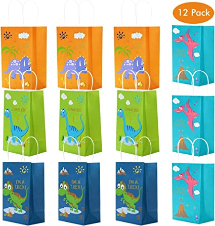 Amycute 12 piezas Bolsas de Fiesta cumpleaños dinosaurios, Bolsas ...