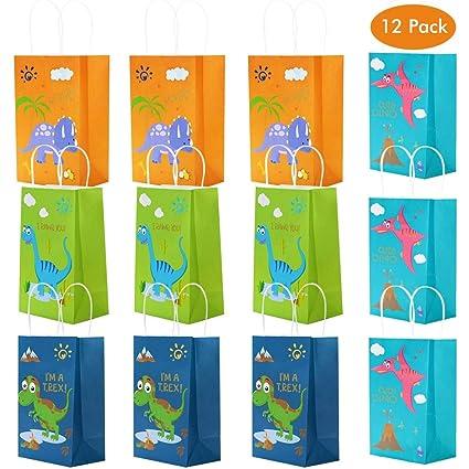 Amycute 12 piezas Bolsas de Fiesta cumpleaños dinosaurios ...