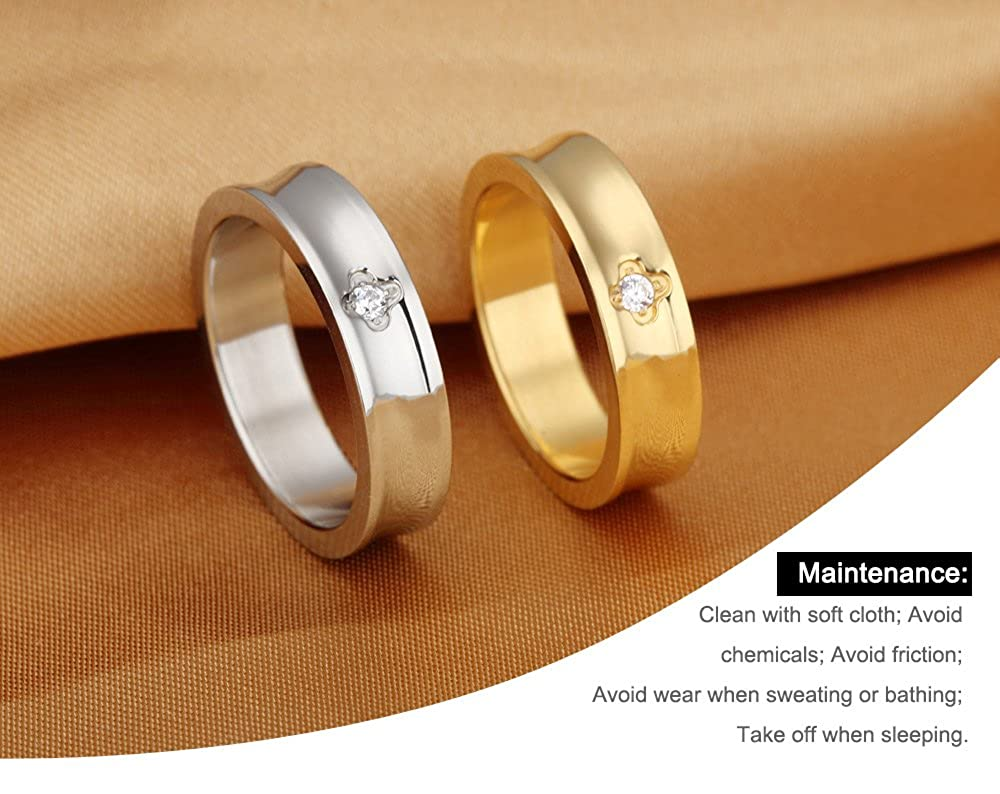Amazon.com: 3Aries Stainless Steel Golden Simple Glossy Ring w ...