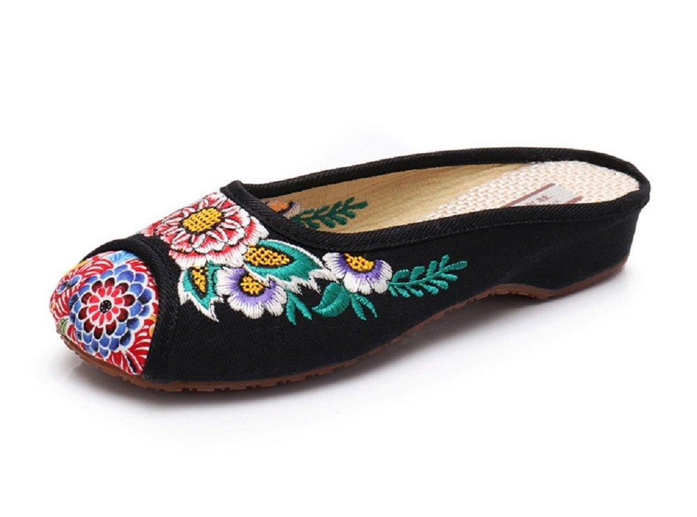 Lazutom - Zapatillas de Estar por casa de Lona para Mujer 37 1/3 EU|Negro