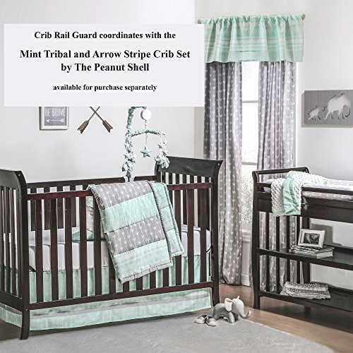 Mint Green Tribal Print 100% Cotton Padded Crib Rail Guard by The Peanut Shell by The Peanut Shell (Image #2)