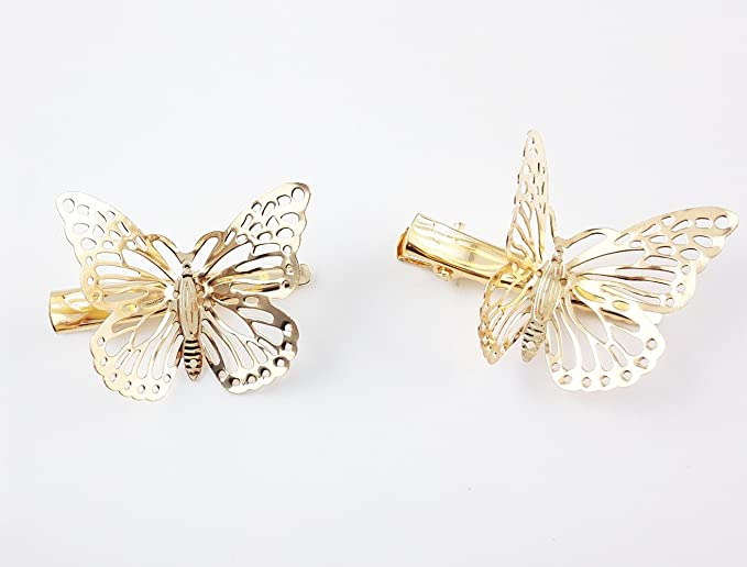 Golden Butterfly Glitter Resin Hair Clip