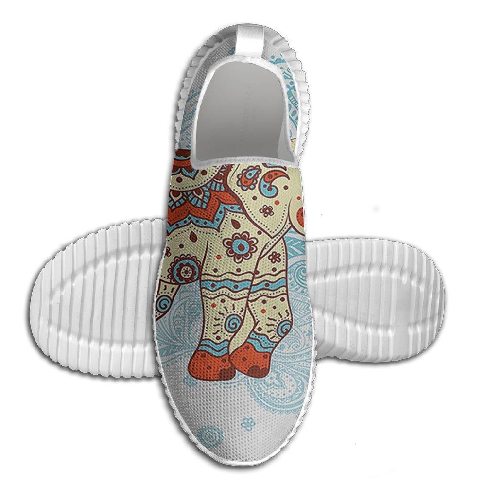 DiamondsJun Unisex Ethnic Mandala Indian Style All Over 3D Printed Mesh Slip On Fashion Comfortable Shoes 43