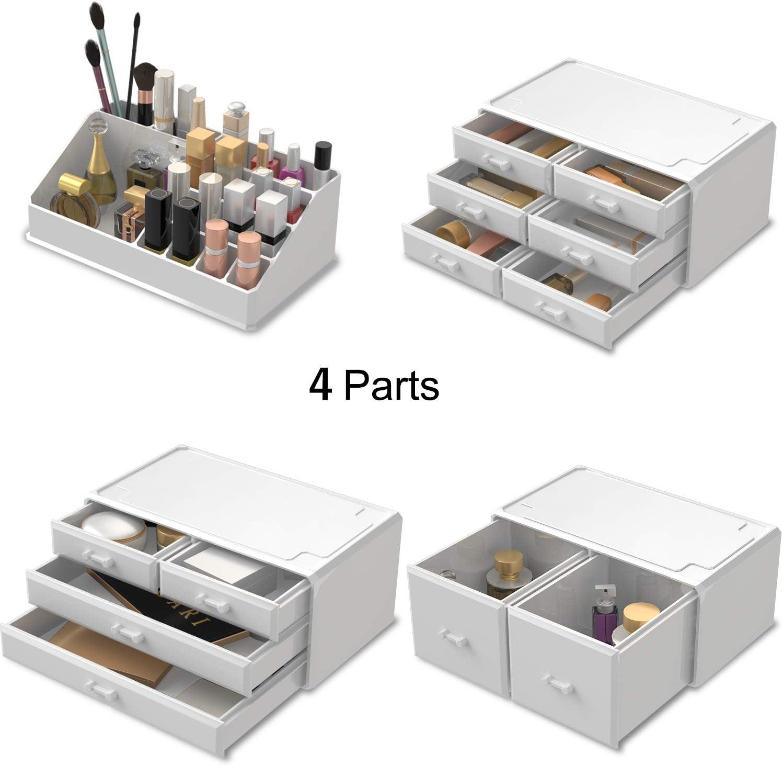 blanco READAEER Organizador de Maquillaje con 12 Niveles Ajustables Caja de Almacenamiento Multi-Funcional