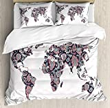 Is Eastern King the Same As King Anzona King Size Floral World Map 3 PCS Duvet Cover Set, Paisley Leaves Ornamental Eastern Style Old Fashioned Design, Bedding Set Bedspread for Children/Teens/Adults/Kids, Plum Coral Turquoise