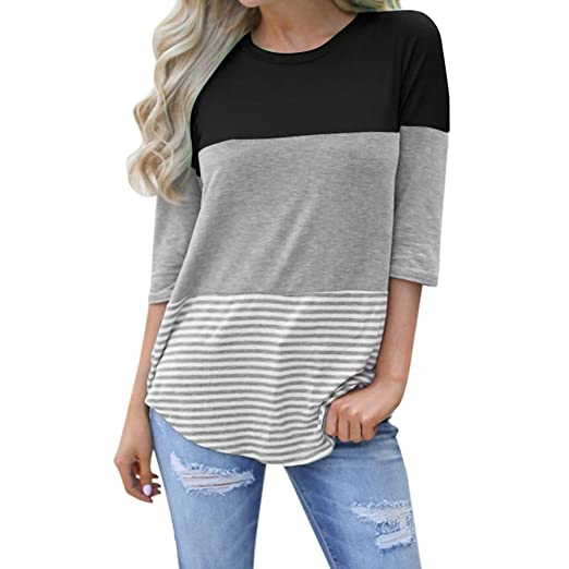93d1085e2919 Rambling Women's Casual Loose Color Block Striped Lace Three Quarter Sleeve  T-Shirt Round Neck