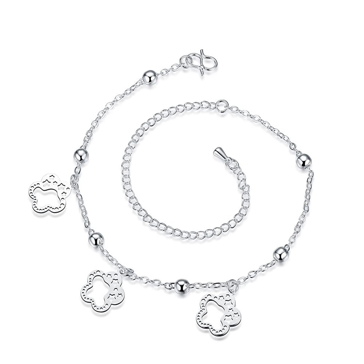 Women Flowers Beads Out Double Layers Ankle Bracelet Platinum Plated Jewelry Sandal Beach Foot Chain