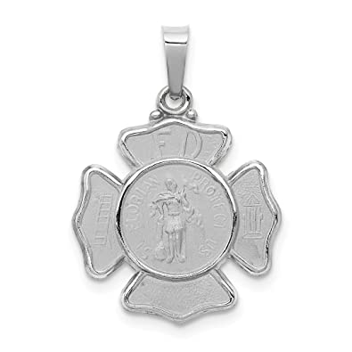 9ff84fd4ea8 14k White Gold Saint Florian Badge Pendant Charm Necklace Religious Patron  Medal St Fine Jewelry Gifts