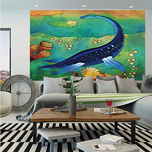 - SoSung Dinosaur Removable Wall Mural,Ancient Wild Sea Creature Plesiosaurus in Its Underwater Habitat,Self-Adhesive Large Wallpaper for Home Decor 66x96 inches,Jade Green Navy Blue Orange