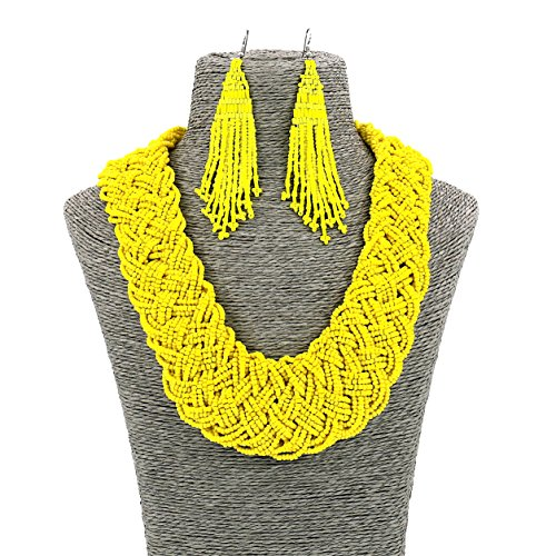 Set Bead Seed Necklace (Fashion Jewelry Long Resin Yellow Seed Bead Collar Women Necklace and Earrings Set)