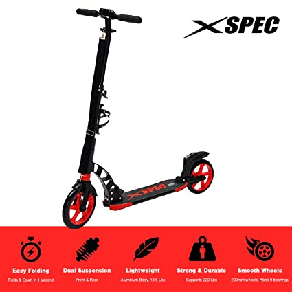 Xspec 922 Foldable Adult Kick Street Scooter with Full Suspension and Rear Wheel Braking System,