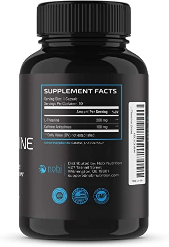Nobi Nutrition Premium L-Theanine 200mg – Enhanced with Caffeine Anhydrous – Natural Stress Relief Supplement – Improves Focus Relaxation – Supports Calm Energy Brain Function 60 Capsules