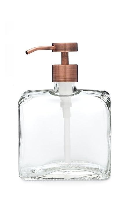 Desconocido Urban cuadrado dispensador de jabón de vidrio reciclado con fuente cobre metal dispensador de jabón