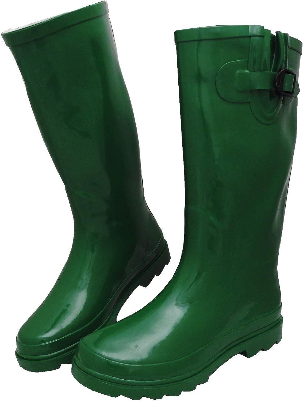 Sunville Womens Mid Calf Waterproof Rubber Garden Rainboots
