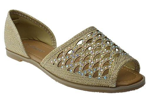 6d1254e53 Link Jadyn 55 Womens Rhinestone Embellished Flat Sandals Champagne 5