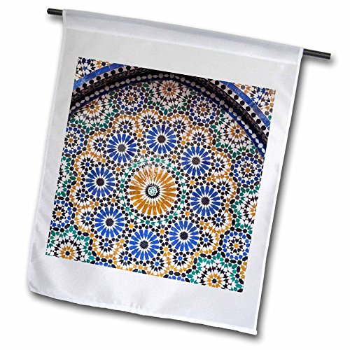 3dRose Danita Delimont - Architecture - Morocco, Fes. A detail of a mosaic tiled fountain. - 18 x 27 inch Garden Flag (fl_276495_2) by 3dRose