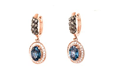 a846de71f Image Unavailable. Image not available for. Color: LeVian Deep Sea Blue  Topaz Chocolate Vanilla Diamonds Earrings Dangling Hoops 14k Rose Gold NEW