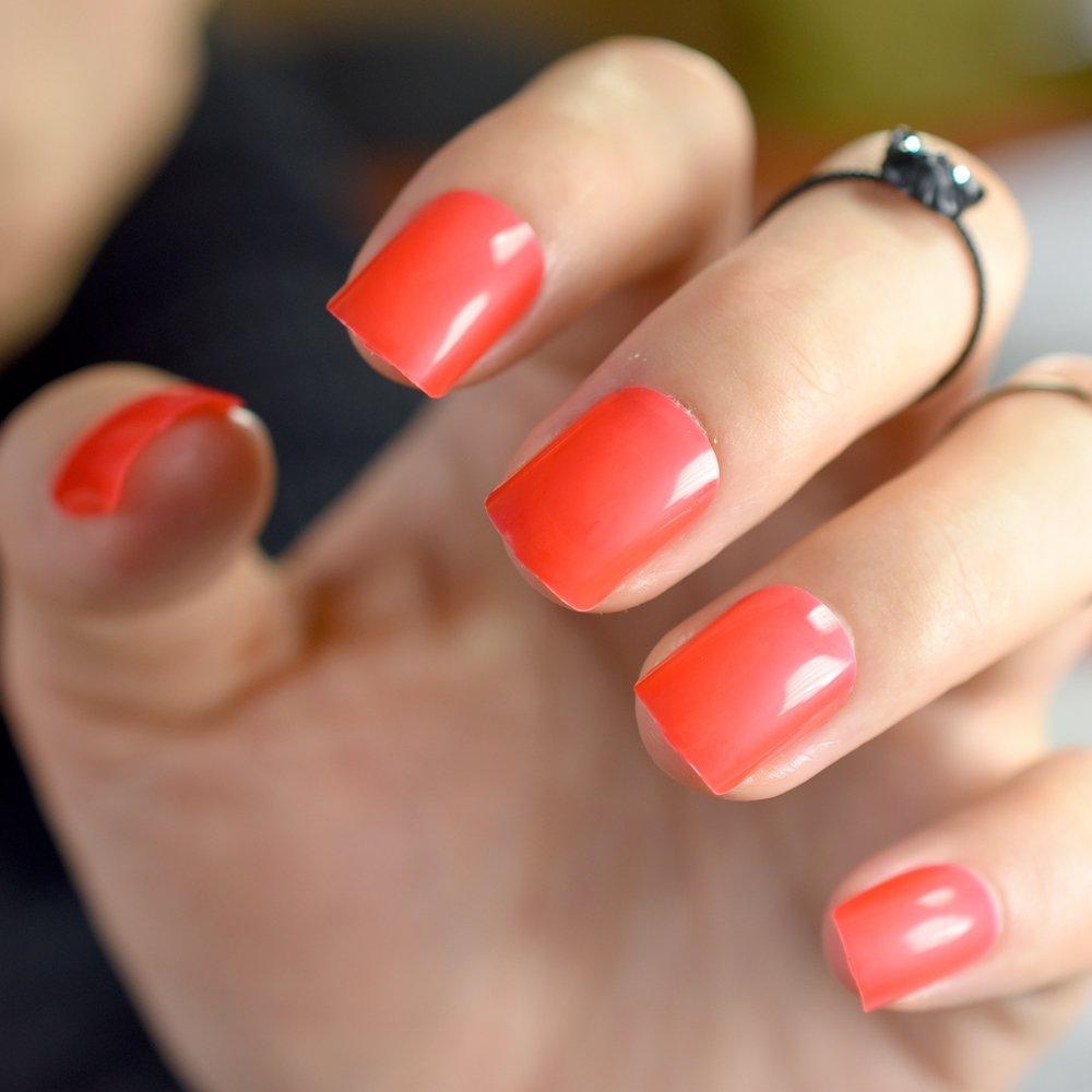 EchiQ 6 juegos de uñas postizas redondas de color caramelo ...