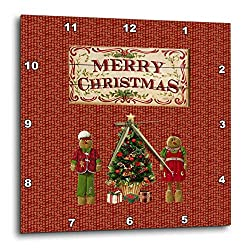 3dRose Beverly Turner Christmas Design - Wooden Merry Christmas Sign Look, Dressed Gingerbread Kids, Tree - 13x13 Wall Clock (DPP_293724_2)