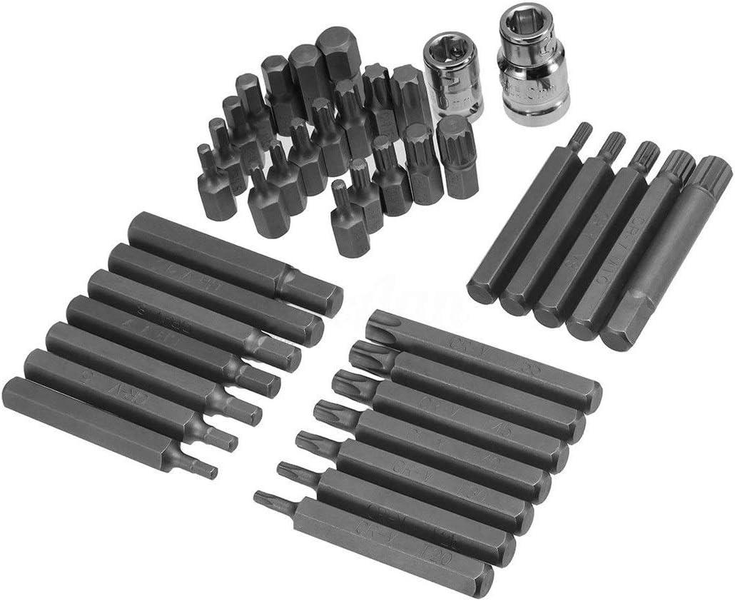 XINGJIJIJIA Surfaces 40Pcs 1/2'' 3/8'' Adaptor Drive Shank Hex Torx XZN Spline Star Impact Socket Set Metric Socket Set Ratchet Driver Socket Wrench closed (Color : 40Pcs) 40pcs
