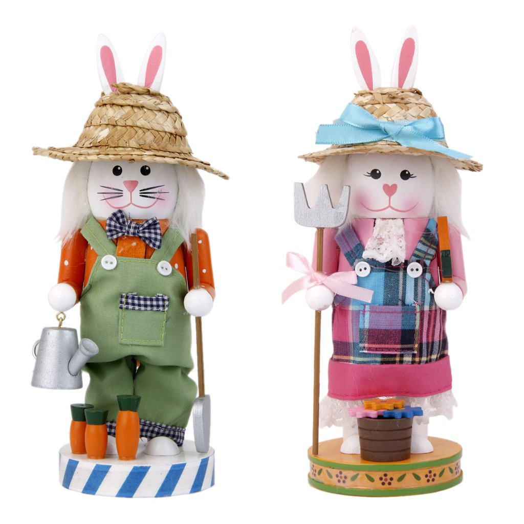MagiDeal Rabbit Couple Wooden Nutcracker Craft Christmas Ornament Festival Decoration