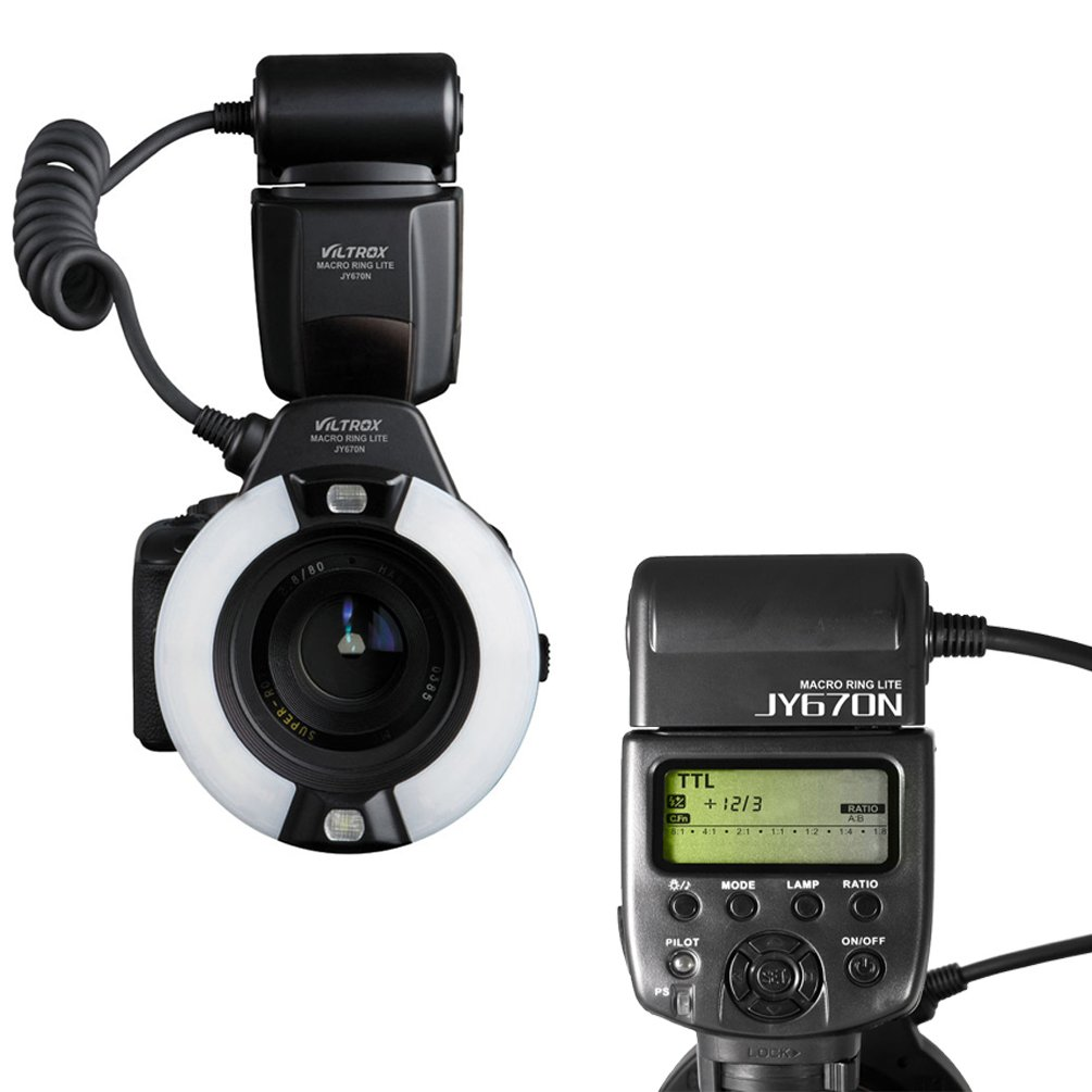 VILTROX JY670N i-TTL Macro Ring Flash Speedlite Light Flashgun for Nikon SLR Camera close-up dental/medical work by VILTROX
