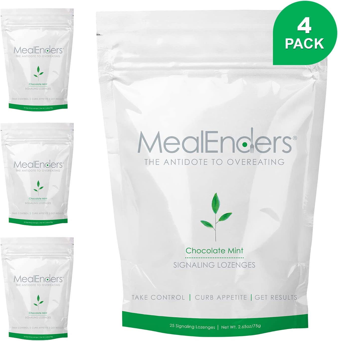 MealEnders Cravings Control Lozenges | Stop Overeating, Curb Cravings and Reduce Snacking | 25-Count Bag (Pack of 4) (Chocomint)