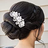 BriLove Womens Victorian Wedding Bride Ivory Color Simulated Pearl Handmade Vine Floral Hair Comb Clear Silver-Tone