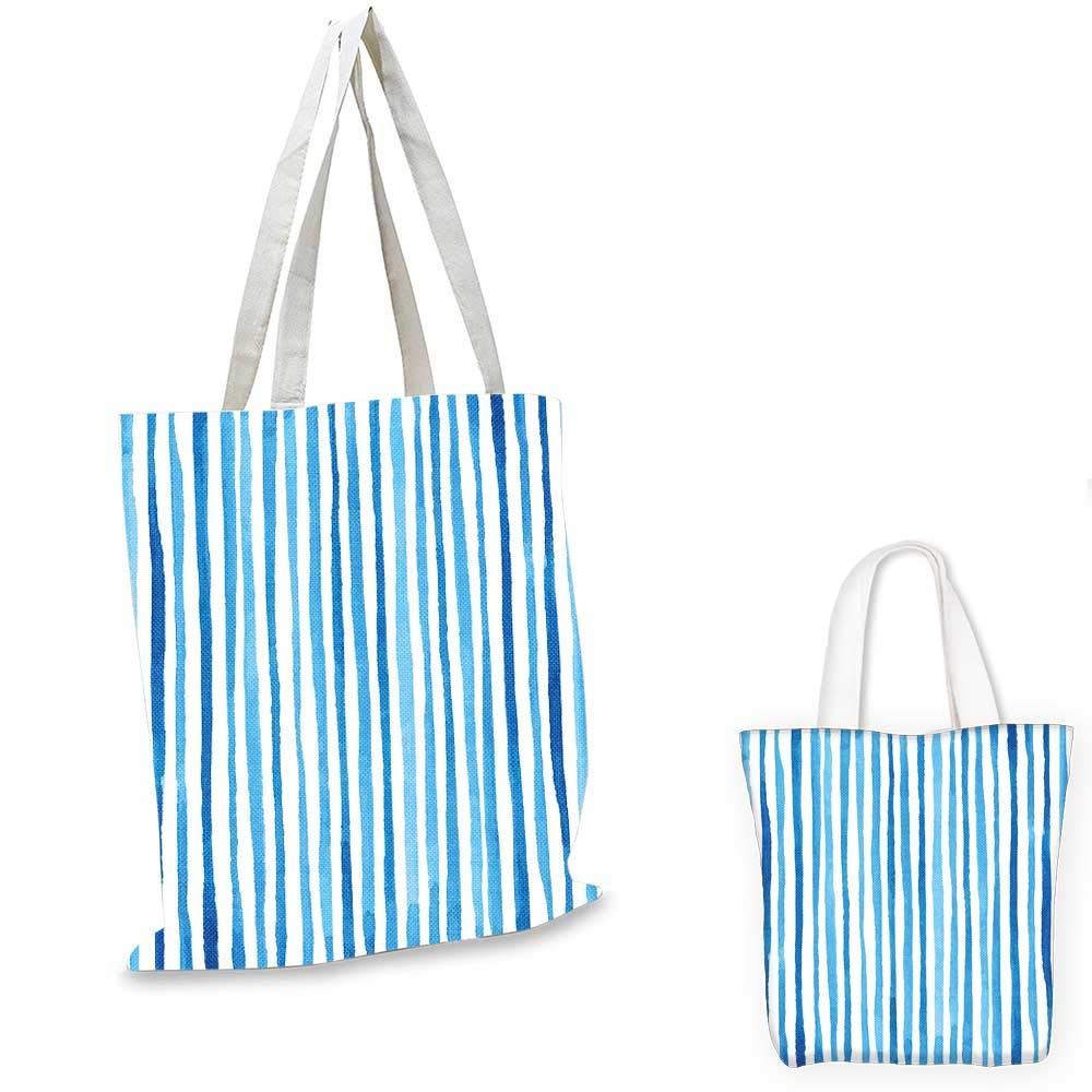 Harbour Stripe canvas messenger bag Watercolor Stripes Paintbrush Color Bands Nautical Cottage Design foldable shopping bag Violet Blue White 14x16-11