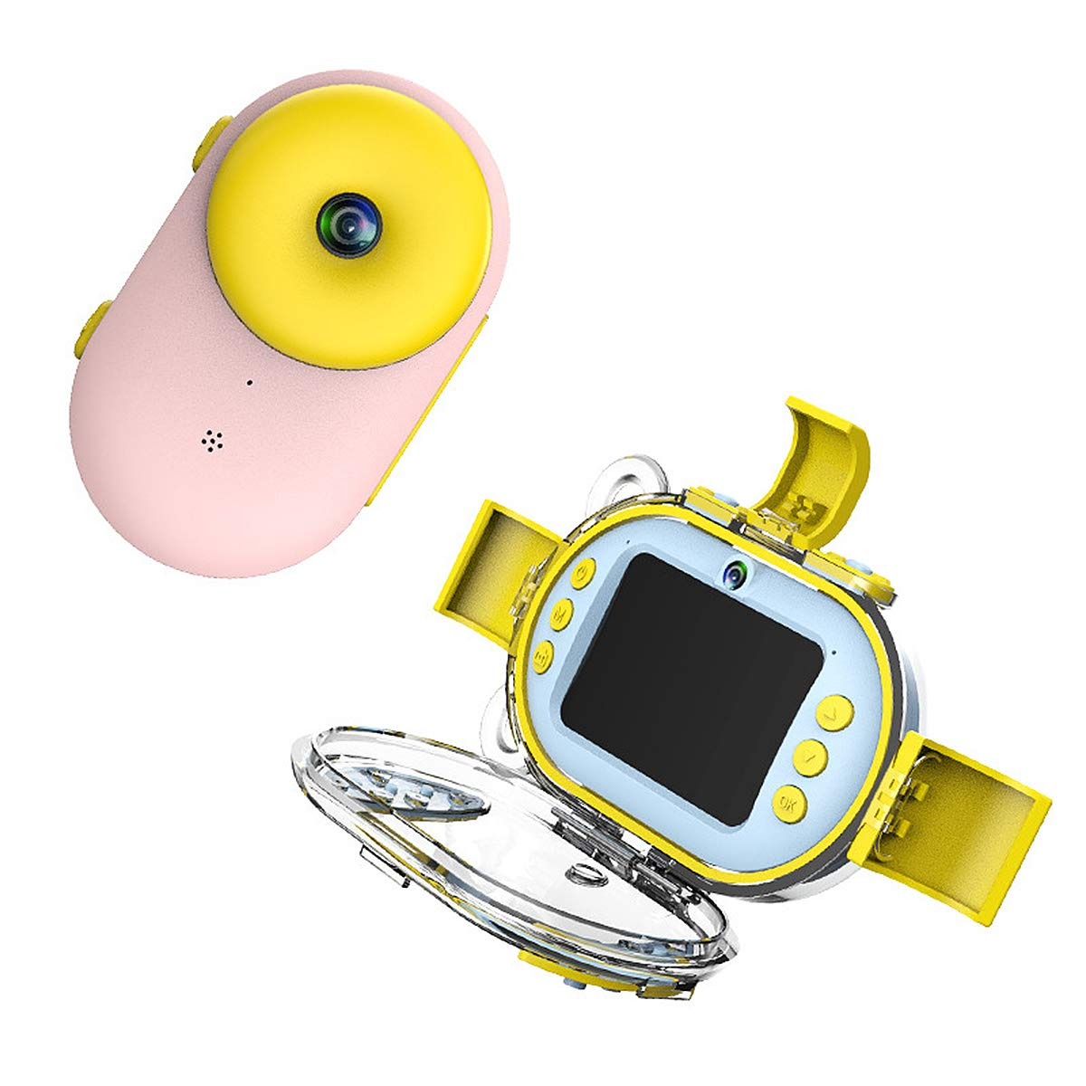 Aegilmc Child Waterproof WiFi Digital Camera, SLR Motion Double Lens Diving Camera, 800MP 1080P Kids Action Camera Sports Camcorder,Pink by Aegilmc (Image #1)