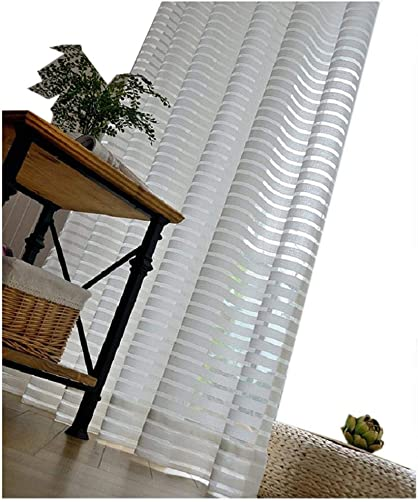 TIYANA White Sheer Curtain for Sliding Glass Doors 96 inch Length Stripes Curtain Extra Wide White Backdrop Sheer Gauze Tulle Voile Drape Kapok Embroidery Custom Window Curtain 1 Panel 95×96 inch