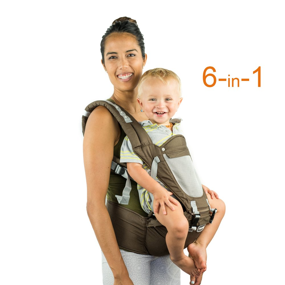 Front Back Baby Carrier with Hipseat - 6 Position 360° Ergonomic All Seasons Child Sling for Newborn,Infant & Toddler (Brown)