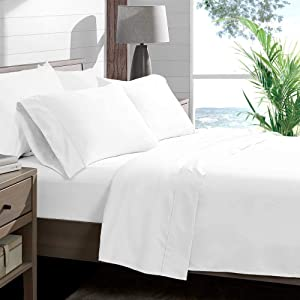 Unique Beddings Italian 1500 Thread Count Heavy Soft Egyptian Cotton Sheet Set DEEP Pocket, Queen, White Solid, Premium Italian Finish (Features : Fully Elastic Fitted Sheet Fits 14-16