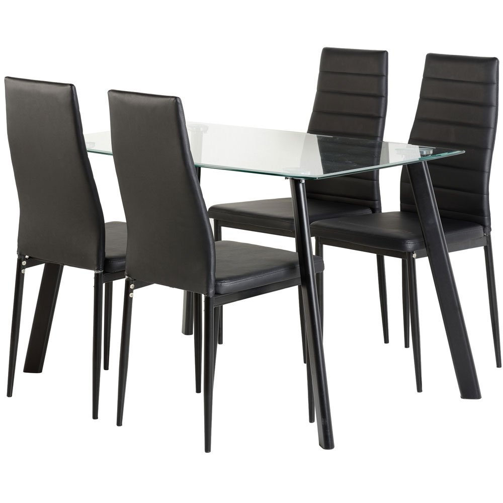 Abbey Dining Set   Clear Glass Table With 4 Black Chairs: Amazon.co.uk:  Computers U0026 Accessories