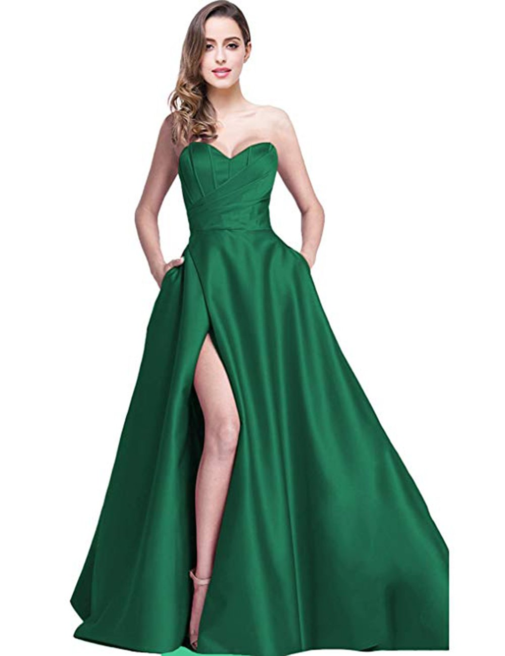 5599d00c801 Ri Yun Women s Sweetheart Prom Dresses Long 2019 High Slit Strapless A-Line  Formal Evening Ball Gowns with Pockets Green
