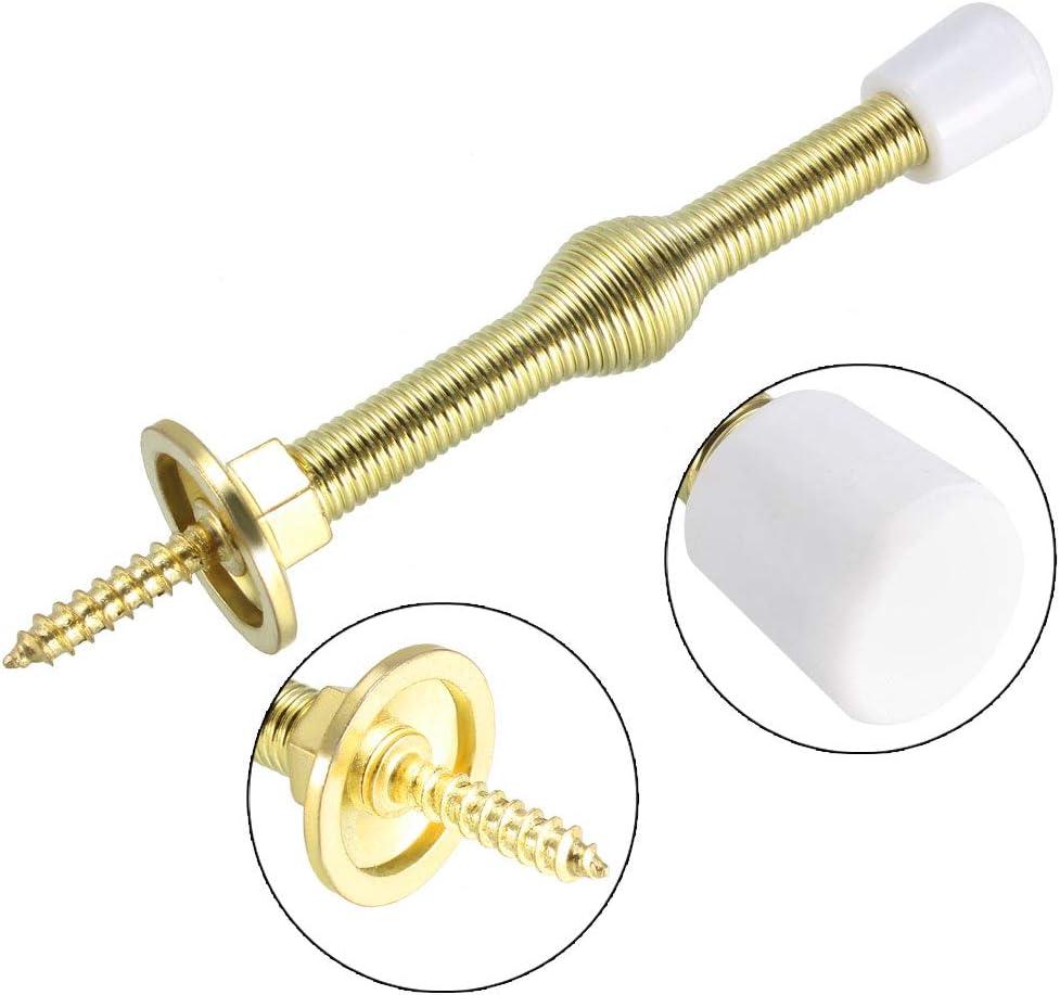 Door Stoppers Nickel Plated 75mmL Screw-in Spring Stops w Rubber Bumper Tip 4Pcs