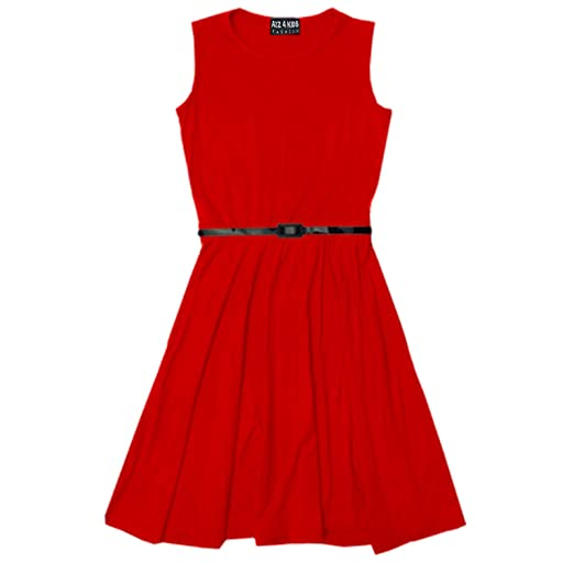 Amazon.com: Girls Skater Dress Kids Party Dresses With Free Belt Age 7 8 9 10 11 12 13 Years ...: Clothing
