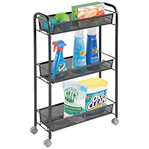 mDesign Portable Rolling Laundry Utility Cart Organizer Trolley with Easy-Glide Wheels and 3 Multipurpose Heavy-Duty Metal Mesh Basket Shelves - Wide Shelf - Durable Steel Frame - Black