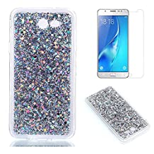 Fit for Samsung Galaxy A5 2017 Glitter Case with Screen Protector,OYIME [Silver Sequins] Shiny Bling Luxury Design Clear Ultra Thin Soft Rubber Protective Back Cover Transparent Scratch Resistant Drop Protection Bumper