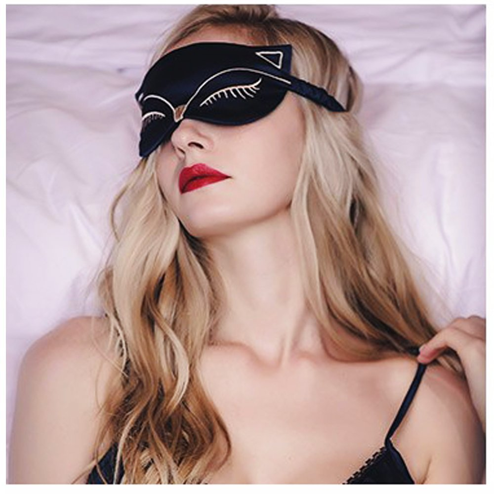 Cute Eye Mask for Sleeping - Natural Silk Sleep Mask & Blindfold for Women & Girls - Sexy Fox Night Eye Shade / Cover - Smooth Soft and Comfortable Sleeping Aid - Adjustable Strap by Meeteasy (Image #2)