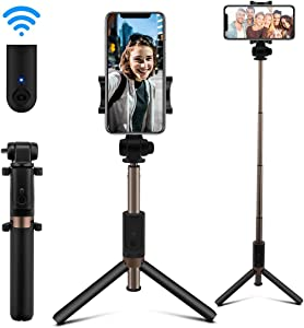 AFAITH Selfie Stick Bluetooth, Extendable Selfie Stick Tripod Stand with Wireless Remote Shutter Compatible with iPhone 11/11 Pro/XS/XR/8/8P/7/7P/6s/6, Galaxy S9/S9 Plus/S8/S7/S6/S5/Note 9/8