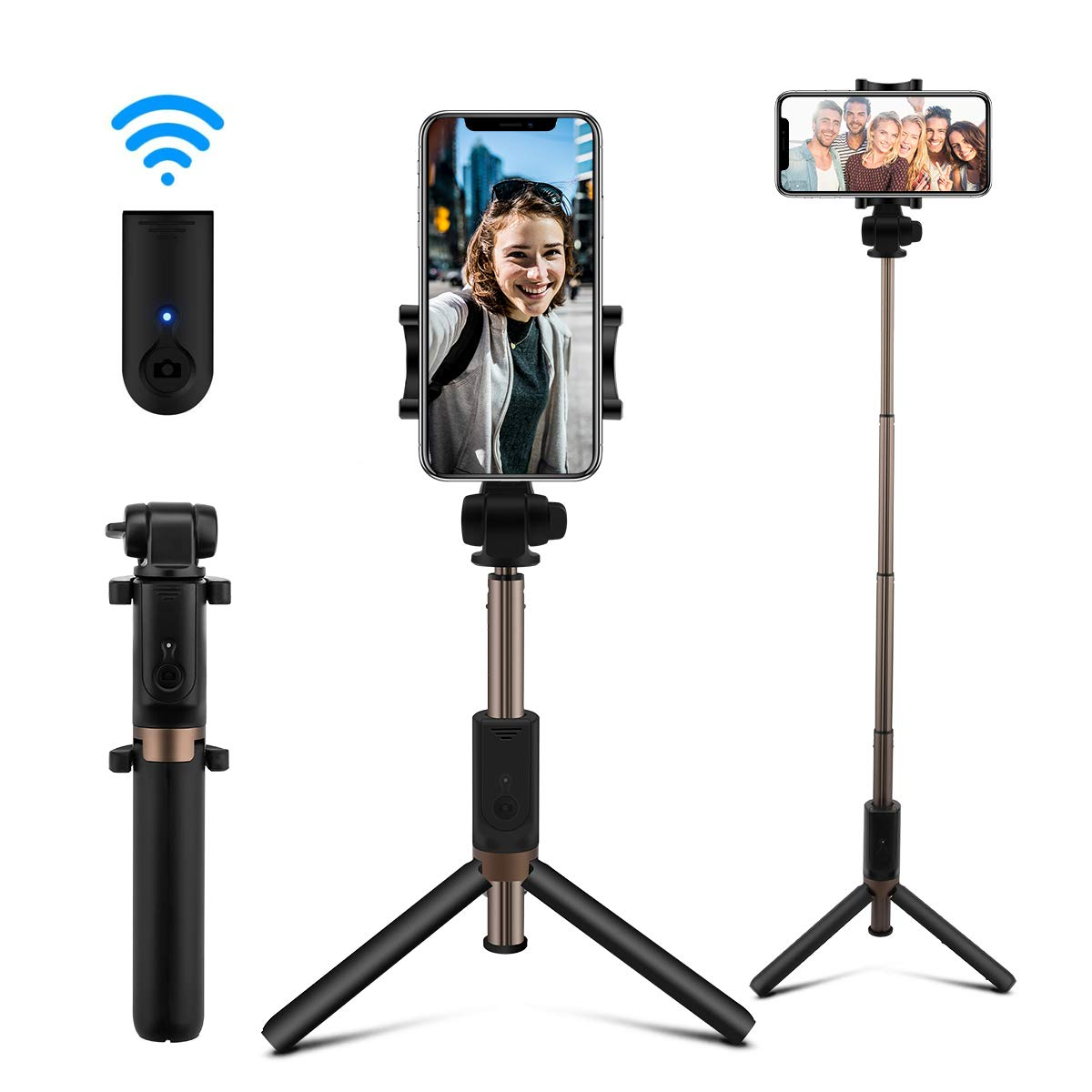 AFAITH Selfie Stick Bluetooth, Extendable Selfie Stick Tripod Stand with Wireless Remote Shutter Compatible with iPhone Xs/XS max/X/8/8P/7/7P/6s/6, Galaxy S9/S9 Plus/S8/S7/S6/S5/Note 9/8
