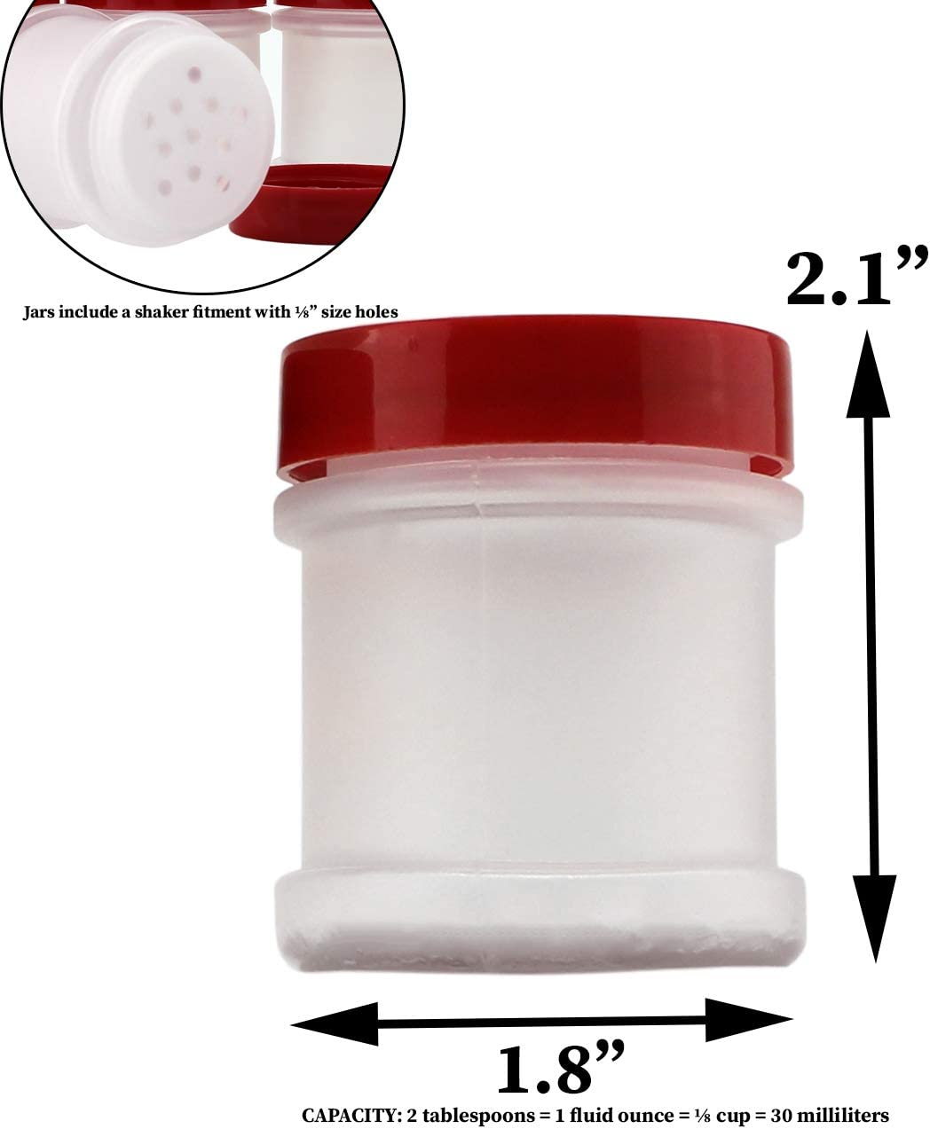 1 oz  Plastic Spice Jars w//Red Black  or Clear Caps /& Sifters U-Pick White