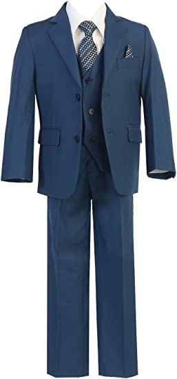 Blue Boy/'s Toddler Kid Teen 5-PC Wedding Formal Party Suit Tuxedo Size 2-20