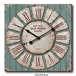 Oversized Square Rustic Decorative Wall Clock