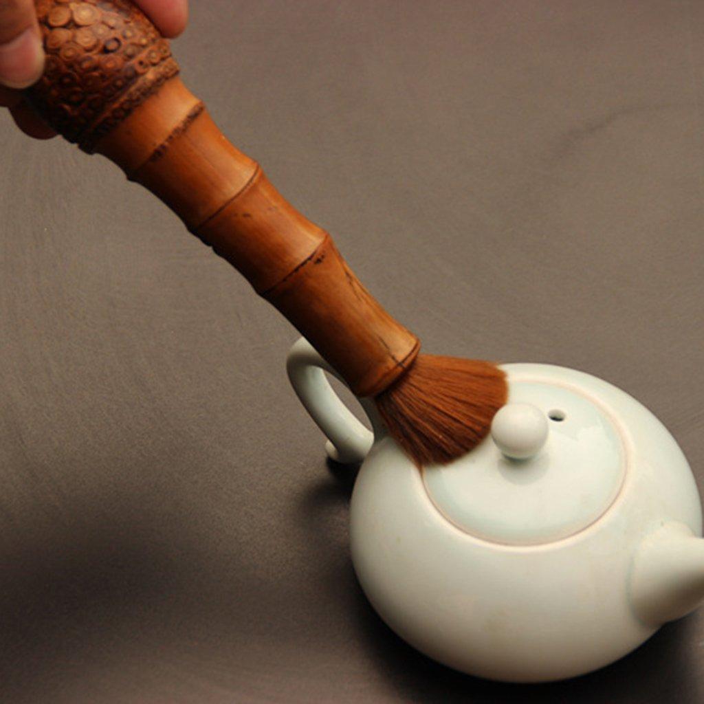 D DOLITY 1PC Bamboo Teapot Coffeepot Maintain Pen Cleaner Brush Chinese Tea Tool Brush Soft Teapot Brush