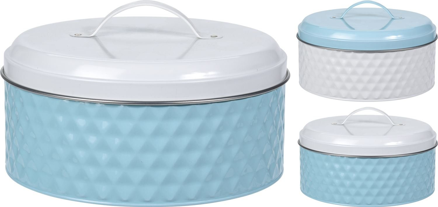Carousel Home and Gifts Blue White Embossed Round Biscuit Cookie Cake Storage Tin Box ~ Colour Varies